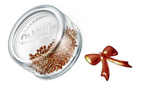 ruNail, Дизайн для ногтей: бантики из ткани FRBO007 (темно-оранжевый)Украшения из ткани<br>Бантики из ткани устойчивы к мономеру. Их можно использовать для дизайна как натуральных, так и искусственных ногтей (акрил, гель).<br>