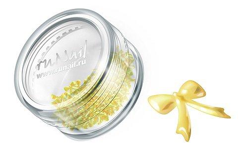 ruNail, Дизайн для ногтей: бантики из ткани FRBO005 (золотой) (RuNail (Россия))
