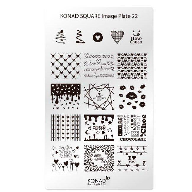 Konad, диск для стемпинга Square Image Plate 22Диски для стемпинга Konad<br>17 видов изображений, с помощью которых вы сможете создать великолепные рисунки на ногтях, которые очень сложно создать вручную.<br>