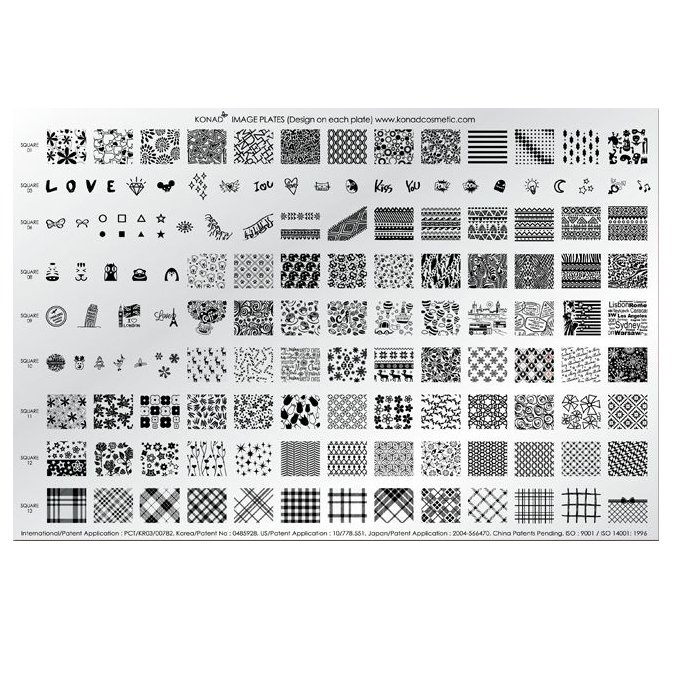 Konad, диск для стемпинга Demo Plate 4 (А4)Диски для стемпинга Konad<br>142 рисунка (Square Image Plate1,3,4,8-13) в супер наборе Demo plate 4.<br>