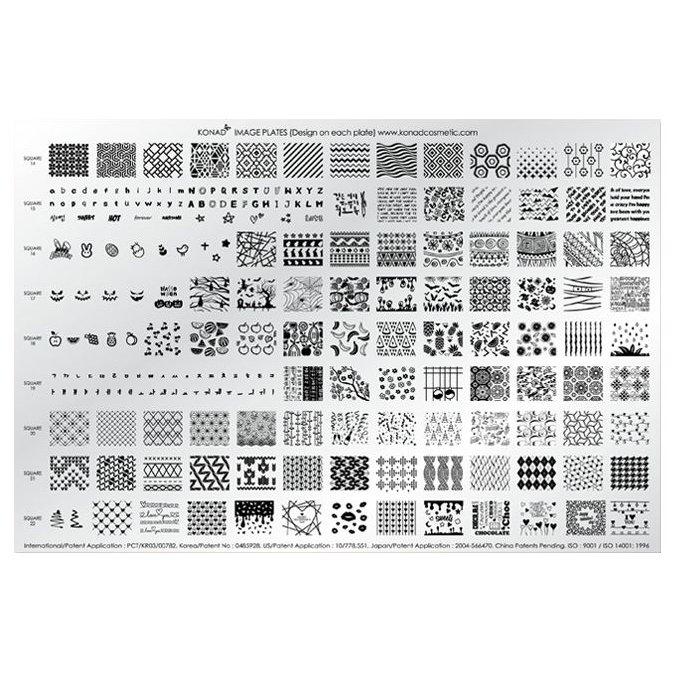 Konad, диск для стемпинга Demo Plate 5 (А4)Диски для стемпинга Konad<br>212 рисунка (Square Image Plate с14 по 22) в супер наборе Demo plate 5.<br>