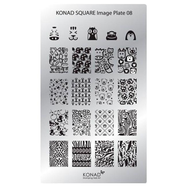 Konad, диск для стемпинга Square Image Plate 8Диски для стемпинга Konad<br>20 видов изображений, с помощью которых вы сможете создать великолепные рисунки на ногтях, которые очень сложно создать вручную.<br>