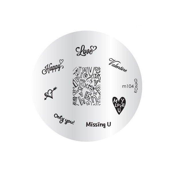 Konad, диск для стемпинга М104Диски для стемпинга Konad<br>8 видов изображений, с помощью которых вы сможете создать великолепные рисунки на ногтях, которые очень сложно создать вручную.<br>