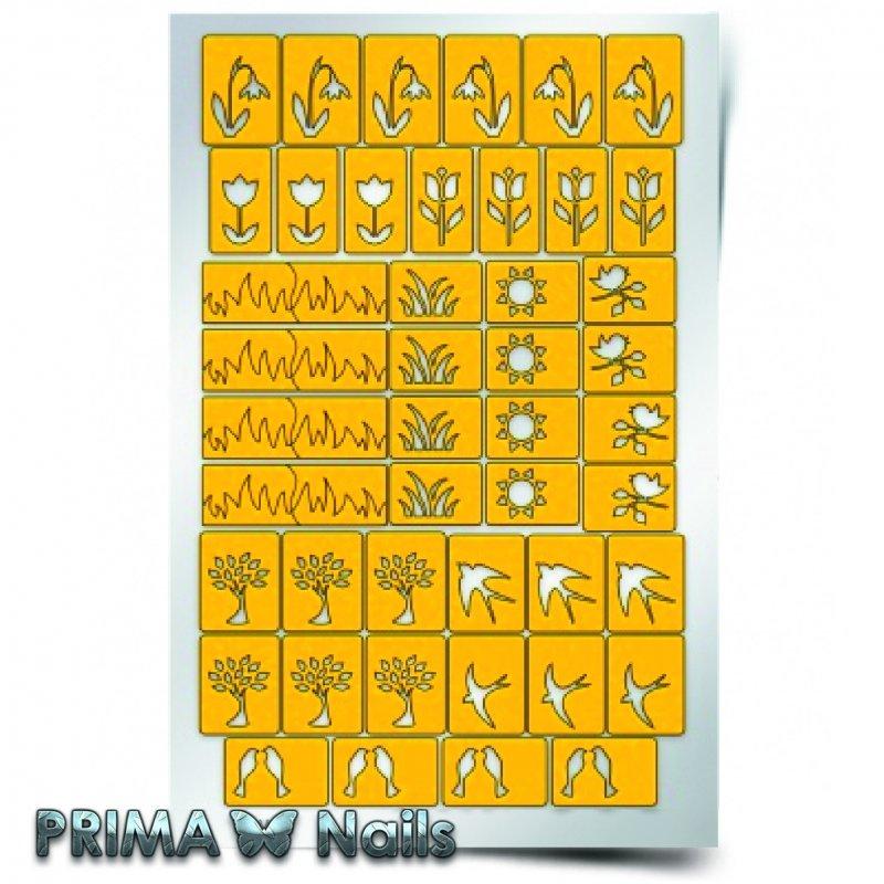 PrimaNails, Трафарет для дизайна ногтей - ВеснаPrimaNails<br>Самоклеющиеся трафареты<br>