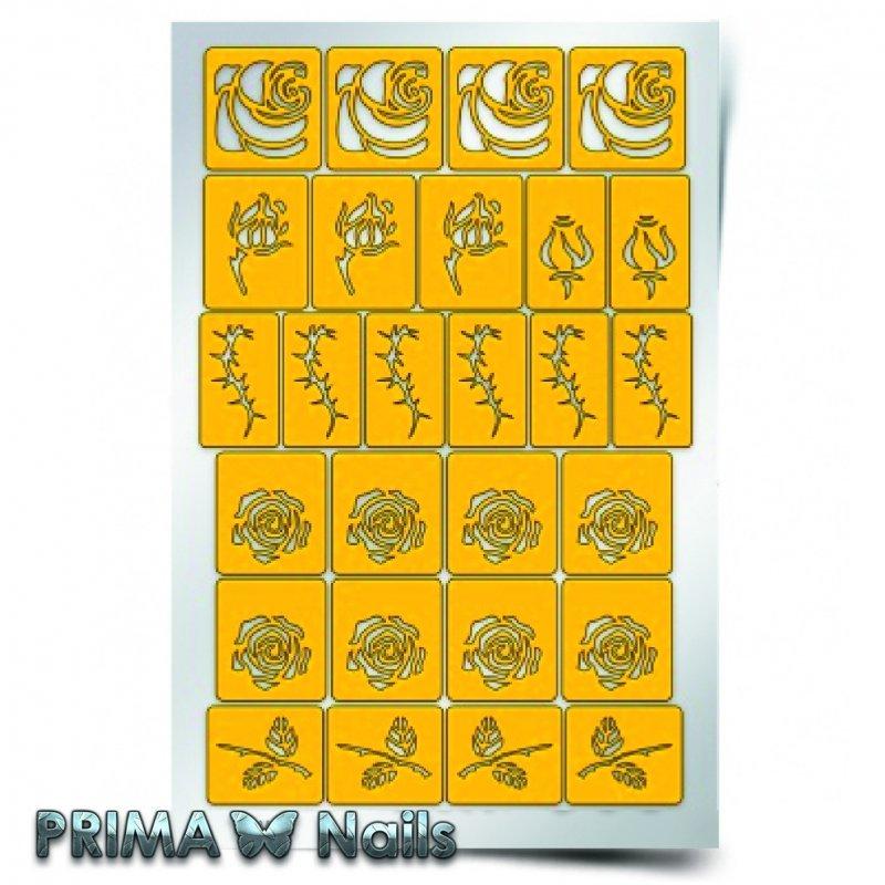 PrimaNails, Трафарет для дизайна ногтей - РозыPrimaNails<br>Самоклеющиеся трафареты<br>