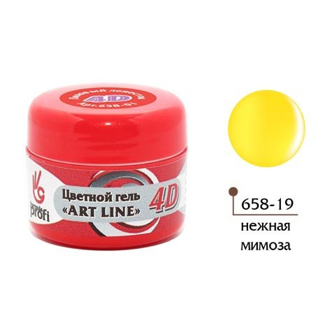 Формула Профи, 4D Art Line - Цветной гель №19 (нежная мимоза, 5гр.)4D Гель для дизайна ногтей<br><br>
