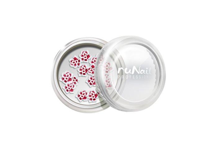 ruNail, Дизайн для ногтей: резиновые аппликации 2023 (розы, красный), 10 штРезиновые аппликации<br>Резиновые аппликации для маникюра и педикюра.<br>