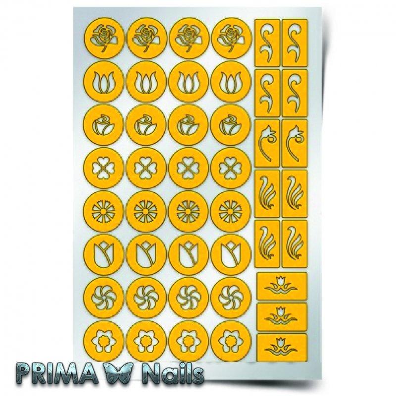 PrimaNails, Трафарет для дизайна ногтей - Цветочный микс 2PrimaNails<br>Самоклеющиеся трафареты<br>