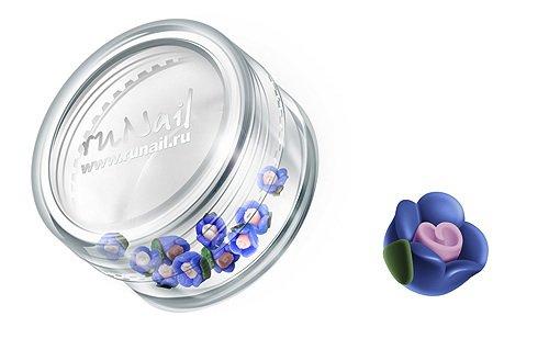 ruNail, Дизайн для ногтей: пластиковые цветы (чайная роза, синий), 3DSC001Пластиковые цветы<br>Имитация акриловой лепки для объемного дизайна. Применение пластиковых цветов в дизайне ногтей экономит Ваше время.<br>
