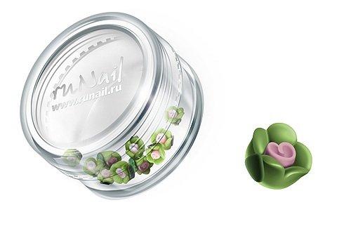 ruNail, Дизайн для ногтей: пластиковые цветы (чайная роза, зеленый), 3DSC002Пластиковые цветы<br>Имитация акриловой лепки для объемного дизайна. Применение пластиковых цветов в дизайне ногтей экономит Ваше время.<br>