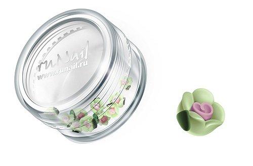 ruNail, Дизайн для ногтей: пластиковые цветы (чайная роза, салатовый), 3DSC003Пластиковые цветы<br>Имитация акриловой лепки для объемного дизайна. Применение пластиковых цветов в дизайне ногтей экономит Ваше время.<br>