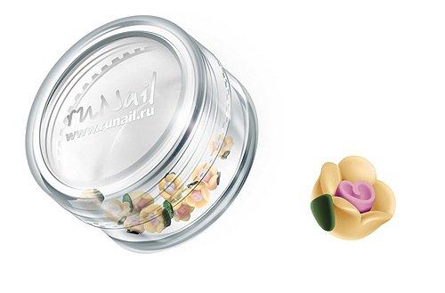 ruNail, Дизайн для ногтей: пластиковые цветы (чайная роза, желтый), 3DSC005Пластиковые цветы<br>Имитация акриловой лепки для объемного дизайна. Применение пластиковых цветов в дизайне ногтей экономит Ваше время.<br>