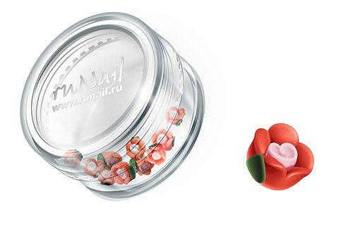 ruNail, Дизайн для ногтей: пластиковые цветы (чайная роза, оранжевый), 3DSC006Пластиковые цветы<br>Имитация акриловой лепки для объемного дизайна. Применение пластиковых цветов в дизайне ногтей экономит Ваше время.<br>