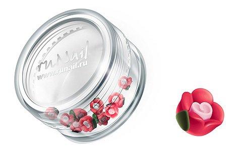 ruNail, Дизайн для ногтей: пластиковые цветы (чайная роза, красный), 3DSC008Пластиковые цветы<br>Имитация акриловой лепки для объемного дизайна. Применение пластиковых цветов в дизайне ногтей экономит Ваше время.<br>