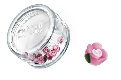 ruNail, Дизайн для ногтей: пластиковые цветы (чайная роза, розовый), 3DSC009Пластиковые цветы<br>Имитация акриловой лепки для объемного дизайна. Применение пластиковых цветов в дизайне ногтей экономит Ваше время.<br>
