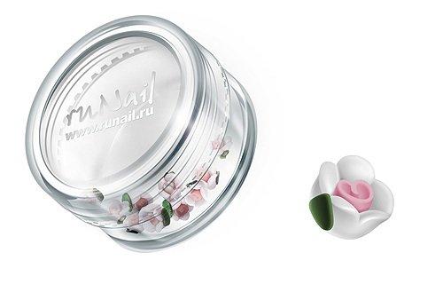 ruNail, Дизайн для ногтей: пластиковые цветы (чайная роза, белый), 3DSC010Пластиковые цветы<br>Имитация акриловой лепки для объемного дизайна. Применение пластиковых цветов в дизайне ногтей экономит Ваше время.<br>