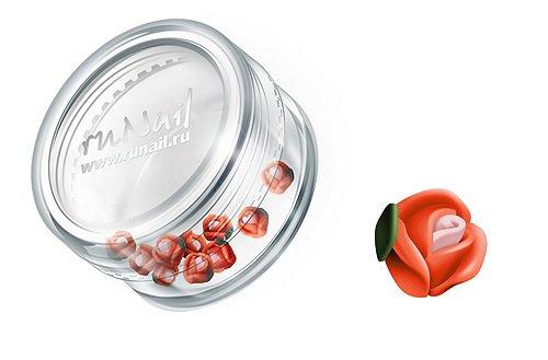 ruNail, Дизайн для ногтей: пластиковые цветы (голландская роза, ярко-оранжевый), 3DSA003 (RuNail (Россия))