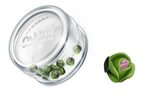 ruNail, Дизайн для ногтей: пластиковые цветы (голландская роза, зеленый), 3DSA005Пластиковые цветы<br>Имитация акриловой лепки для объемного дизайна. Применение пластиковых цветов в дизайне ногтей экономит Ваше время.<br>