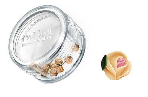 ruNail, Дизайн для ногтей: пластиковые цветы (голландская роза, персиковый), 3DSA008Пластиковые цветы<br>Имитация акриловой лепки для объемного дизайна. Применение пластиковых цветов в дизайне ногтей экономит Ваше время.<br>