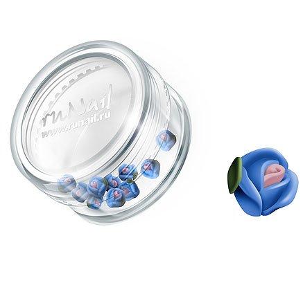 ruNail, Дизайн для ногтей: пластиковые цветы (голландская роза, васильковый), 3DSA009Пластиковые цветы<br>Имитация акриловой лепки для объемного дизайна. Применение пластиковых цветов в дизайне ногтей экономит Ваше время.<br>