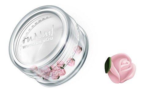 ruNail, Дизайн для ногтей: пластиковые цветы (голландская роза, нежно-розовый), 3DSA010Пластиковые цветы<br>Имитация акриловой лепки для объемного дизайна. Применение пластиковых цветов в дизайне ногтей экономит Ваше время.<br>