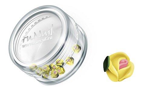 ruNail, Дизайн для ногтей: пластиковые цветы (голландская роза, ярко-желтый), 3DSA012Пластиковые цветы<br>Имитация акриловой лепки для объемного дизайна. Применение пластиковых цветов в дизайне ногтей экономит Ваше время.<br>