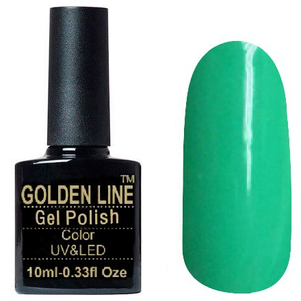 Golden Line, Гель лак - SH07Golden Line<br>Гель-лак бирюзовый, без блесток и перламутра, плотный<br>