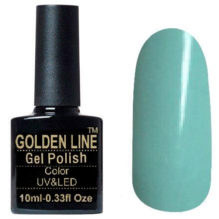 Golden Line, Гель лак - SH10Golden Line<br>Гель-лак голубой, без блесток и перламутра, плотный<br>