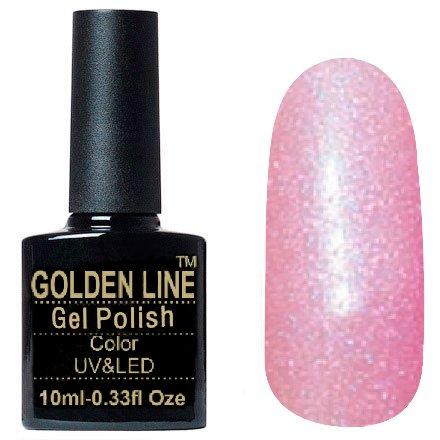 Golden Line, Гель лак - SH12Golden Line<br>Гель-лак розовый, с блестками, плотный<br>