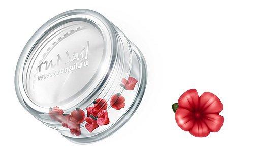 ruNail, Дизайн для ногтей: пластиковые цветы (вьюнок, красный), 3DSB008Пластиковые цветы<br>Имитация акриловой лепки для объемного дизайна. Применение пластиковых цветов в дизайне ногтей экономит Ваше время.<br>