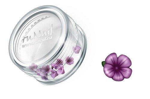 ruNail, Дизайн для ногтей: пластиковые цветы (вьюнок, фиолеловый), 3DSB010Пластиковые цветы<br>Имитация акриловой лепки для объемного дизайна. Применение пластиковых цветов в дизайне ногтей экономит Ваше время.<br>
