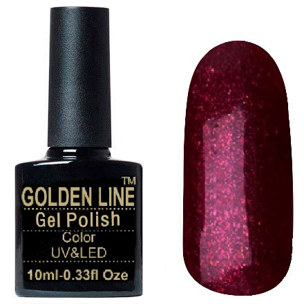 Golden Line, Гель лак - SH40Golden Line<br>Гель-лак бургундский, с блестками, плотный<br>