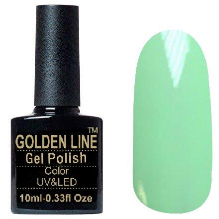 Golden Line, Гель лак - SH43Golden Line<br>Гель-лак пастельно зеленый, без блесток и перламутра, плотный<br>
