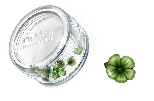 ruNail, Дизайн для ногтей: пластиковые цветы (вьюнок, темно-зеленый), 3DSB012Пластиковые цветы<br>Имитация акриловой лепки для объемного дизайна. Применение пластиковых цветов в дизайне ногтей экономит Ваше время.<br>