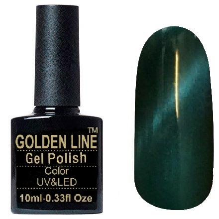 Golden Line, Гель лак - Cat Eyes 02Golden Line<br>Гель-лак кошачий глаз, темно-изумрудный перламутр, плотный<br>