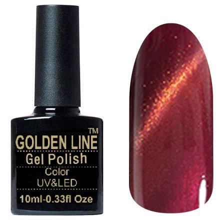 Golden Line, Гель лак - Cat Eyes 08Golden Line<br>Гель-лак кошачий глаз, коричневый перламутр, плотный<br>
