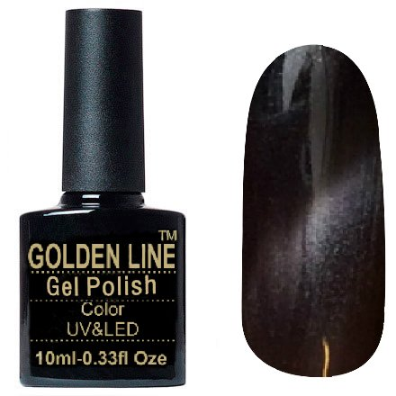 Golden Line, Гель лак - Cat Eyes 10Golden Line<br>Гель-лак кошачий глаз, горький шоколад с перламутром, плотный<br>