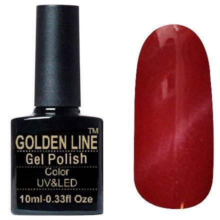 Golden Line, Гель лак - Cat Eyes 11Golden Line<br>Гель-лак кошачий глаз, красный перламутр, плотный<br>