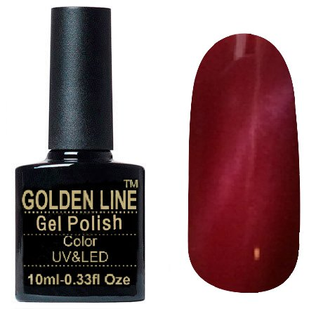 Golden Line, Гель лак - Cat Eyes 12Golden Line<br>Гель-лак кошачий глаз, малиновый перламутр, плотный<br>