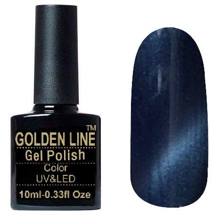 Golden Line, Гель лак - Cat Eyes 16Golden Line<br>Гель-лак кошачий глаз, синий с перламутром, плотный<br>