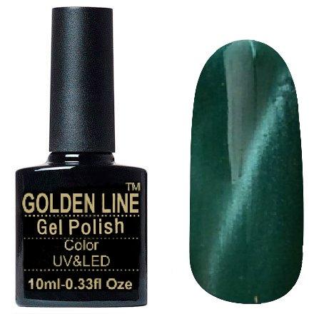 Golden Line, Гель лак - Cat Eyes 17Golden Line<br>Гель-лак кошачий глаз, зеленый жемчугс перламутром, плотный<br>