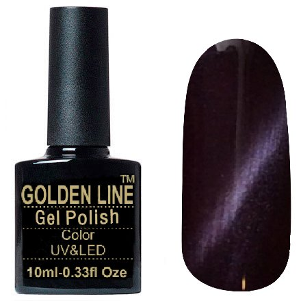 Golden Line, Гель лак - Cat Eyes 18Golden Line<br>Гель-лак кошачий глаз, слива с перламутром, плотный<br>