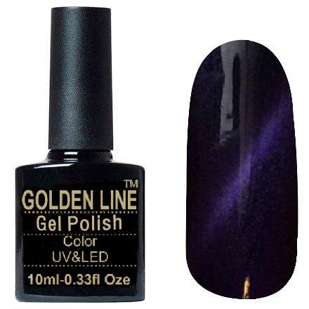 Golden Line, Гель лак - Cat Eyes 19Golden Line<br>Гель-лак кошачий глаз, темно-фиолетовый с перламутром, плотный<br>