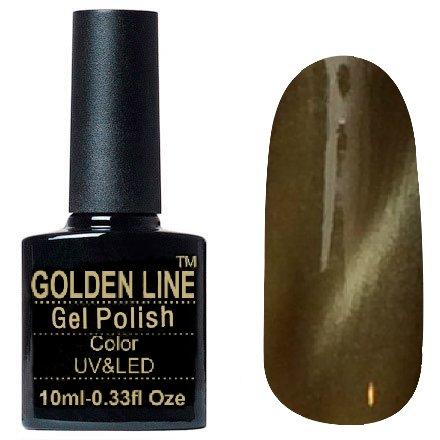 Golden Line, Гель лак - Cat Eyes 21Golden Line<br>Гель-лак кошачий глаз, золотистый хакис перламутром, плотный<br>