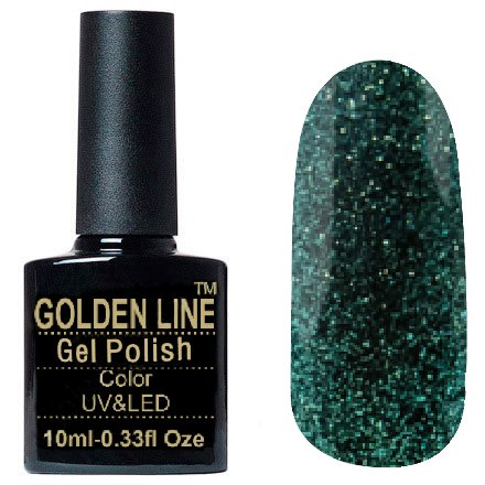 Golden Line, Гель лак - Prisma 03Golden Line<br>Гель-лак полупрозрачный, с изумрудным мерцанием<br>