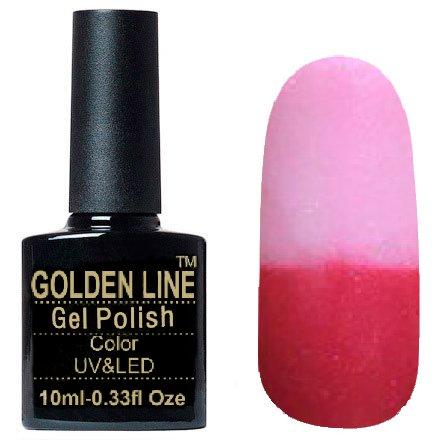 Golden Line, Гель лак - Thermo 06Golden Line<br>Термо гель-лак, тёмно-розовый/светло-розовый, с перламутром и блестками, плотный<br>