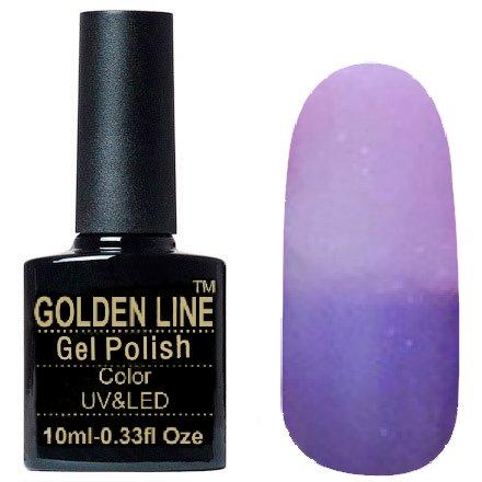 Golden Line, Гель лак - Thermo 07Golden Line<br>Термо гель-лак, сиреневый/светло-лиловый, с перламутром и блестками, плотный<br>