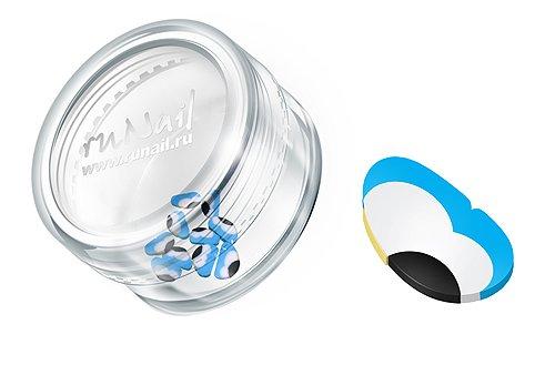 ruNail, Дизайн для ногтей: Резиновые аппликации (крылья бабочки, сине-белый), FIMO004 (RuNail (Россия))