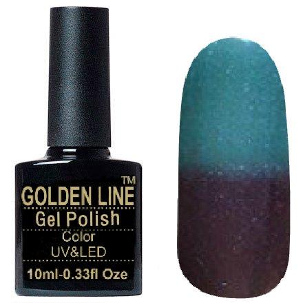Golden Line, Гель лак - Thermo 11Golden Line<br>Термо гель-лак, коричневый/бирюзовый, с сиреневыми и голубыми блестками, плотный<br>