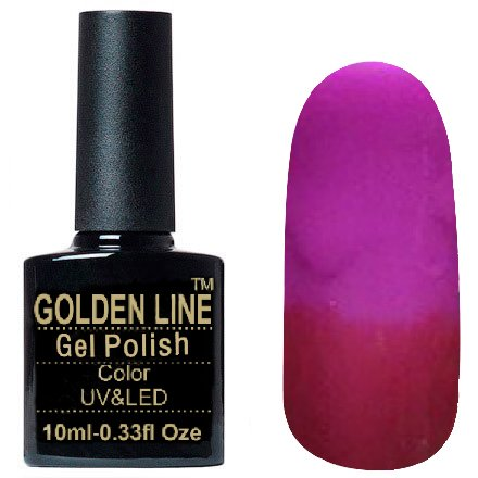 Golden Line, Гель лак - Thermo 12Golden Line<br>Термо гель-лак, темно-малиновый/фиолетово-розовый, плотный<br>